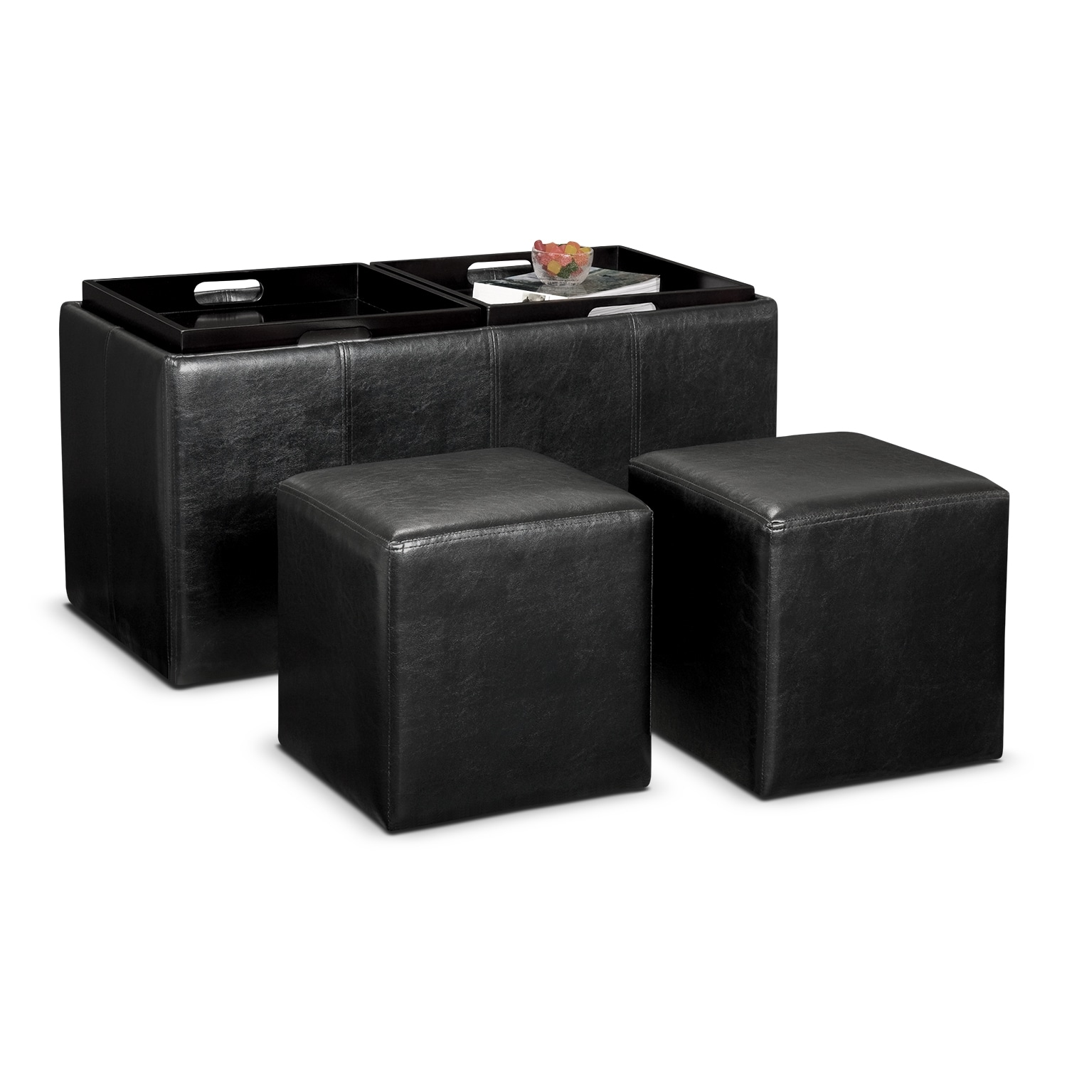 Tiffany 3-Piece Storage Ottoman with Trays - Black