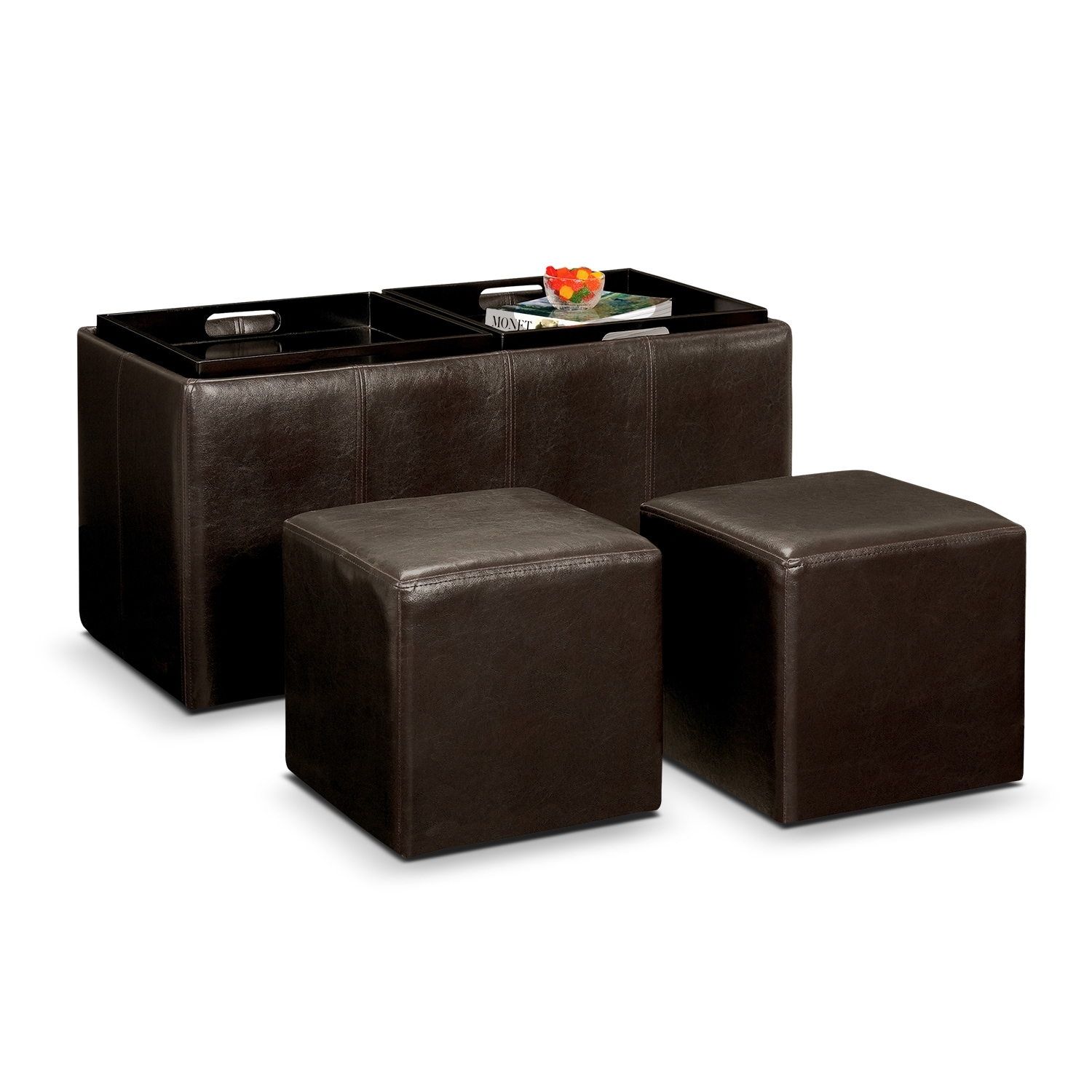 Tiffany 3 Piece Storage Ottoman With Trays Brown American Signature Furniture
