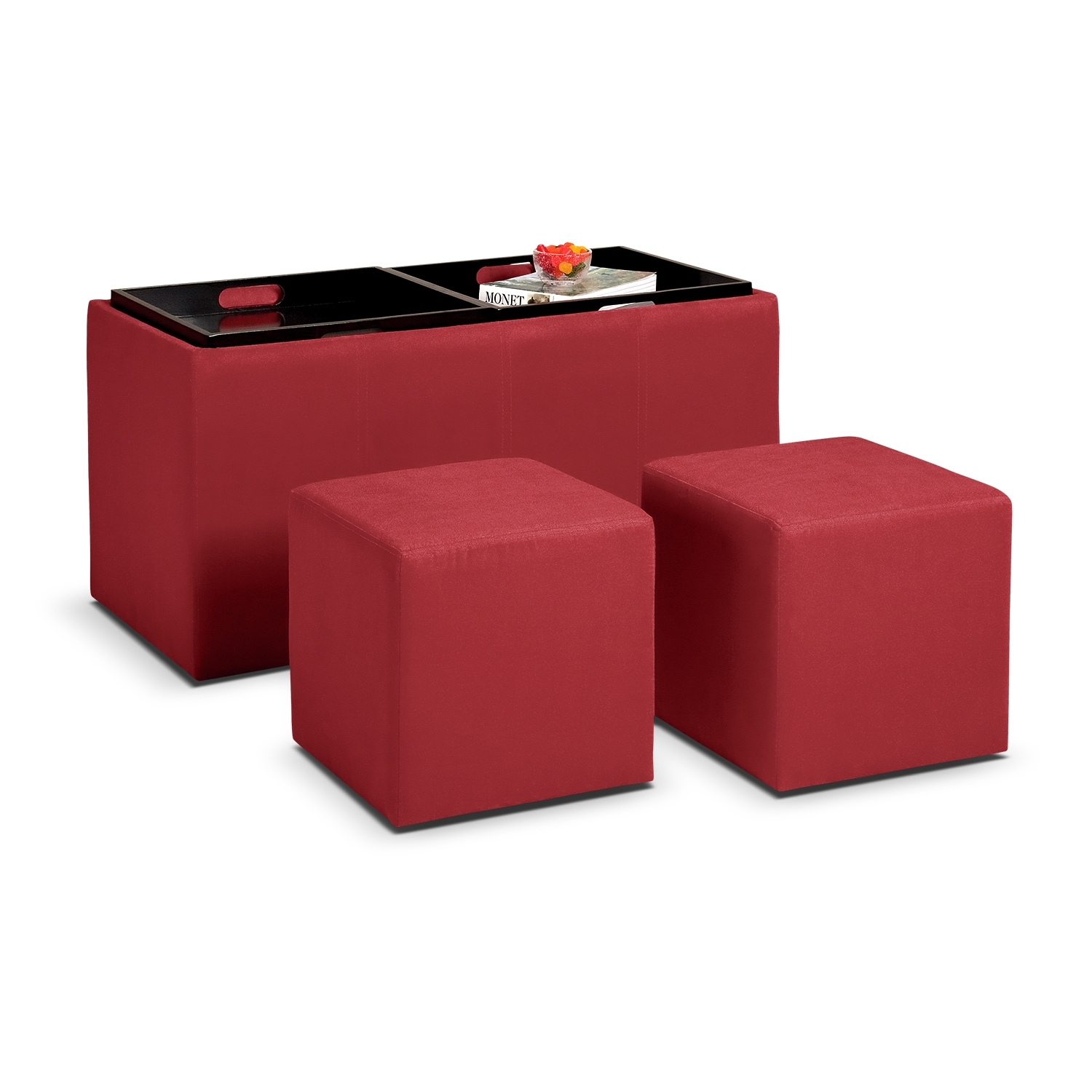 Tiffany 3-Piece Storage Ottoman with Trays - Red