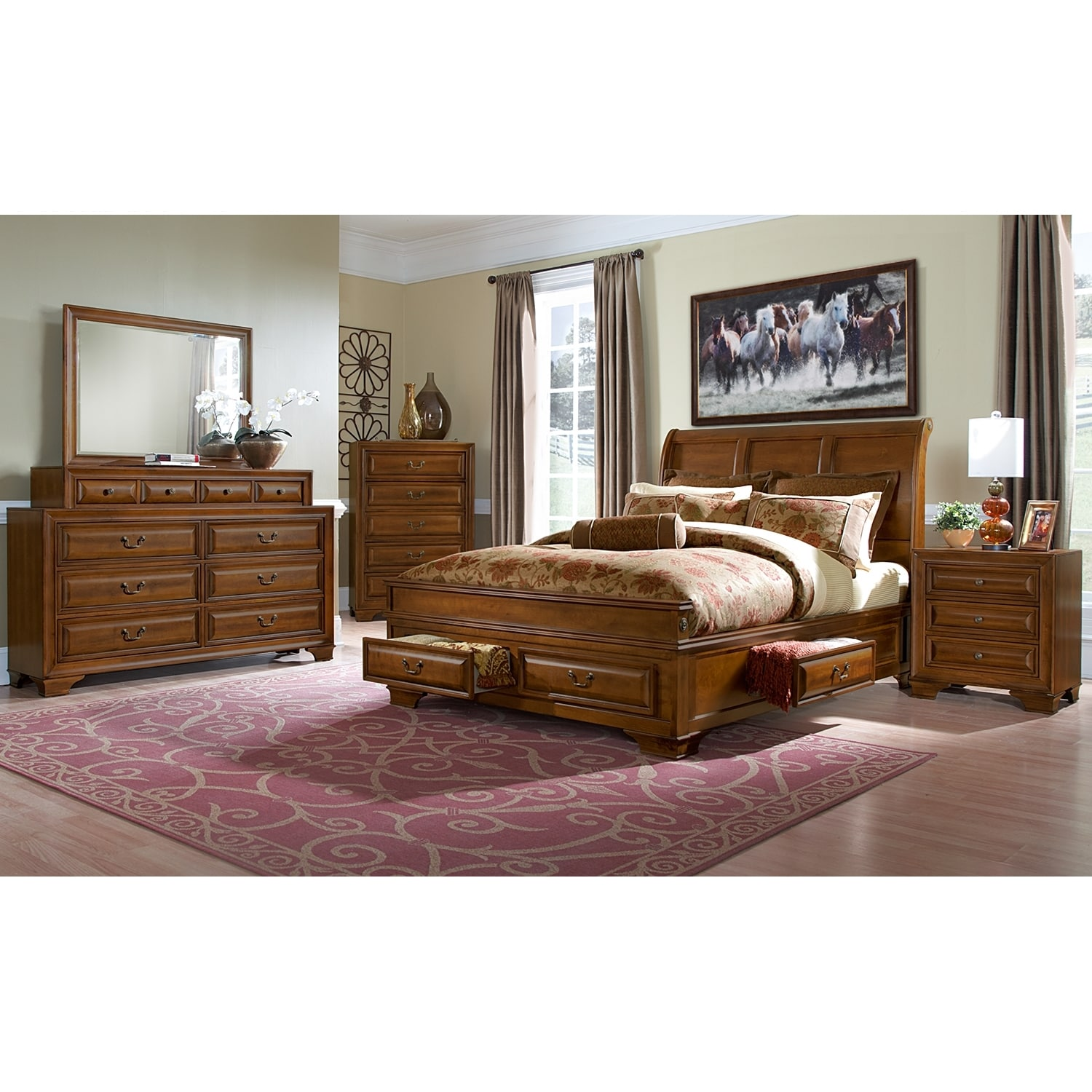 American Signature Furniture Com: Sanibelle Queen Storage Bed - Pine