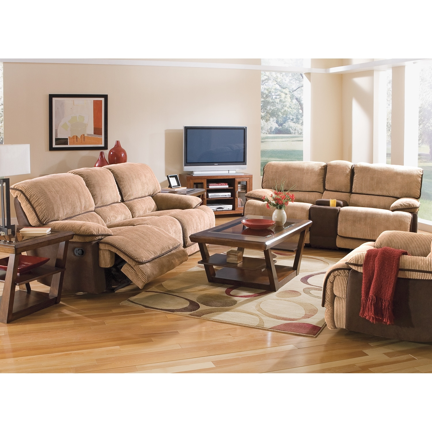 Laguna reclining sofa and gliding reclining loveseat set for Signature furniture