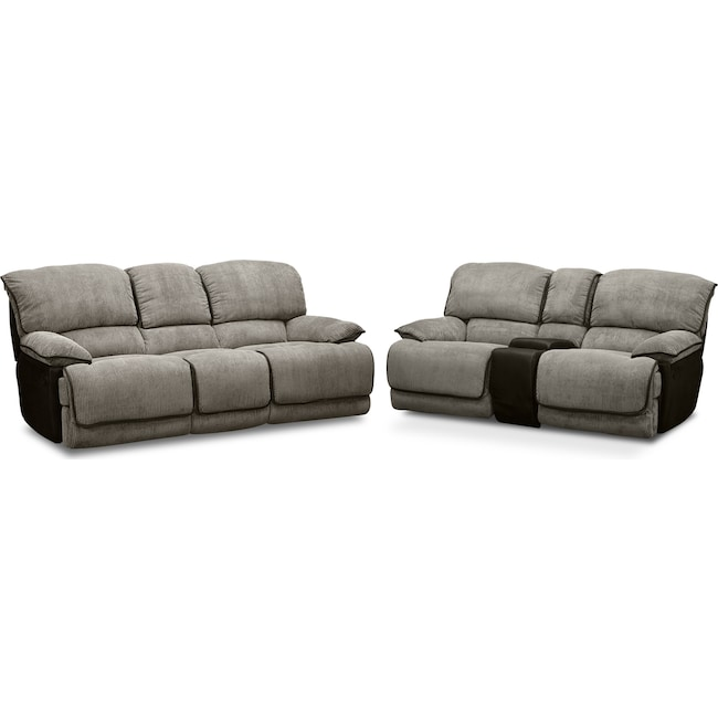 Living Room Furniture - Laguna Reclining Sofa and Gliding Reclining Loveseat Set - Steel