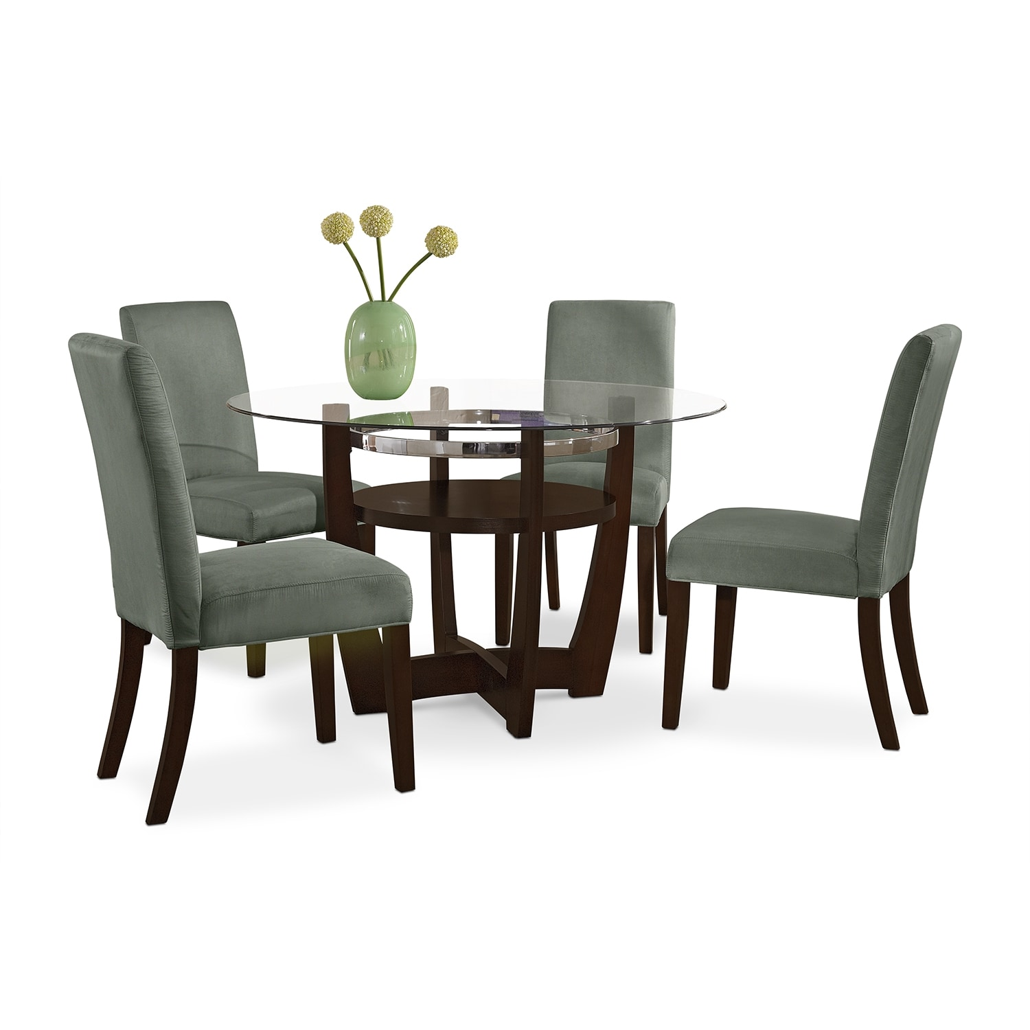 Dining Room Furniture - Alcove Dinette with 4 Side Chairs - Sage