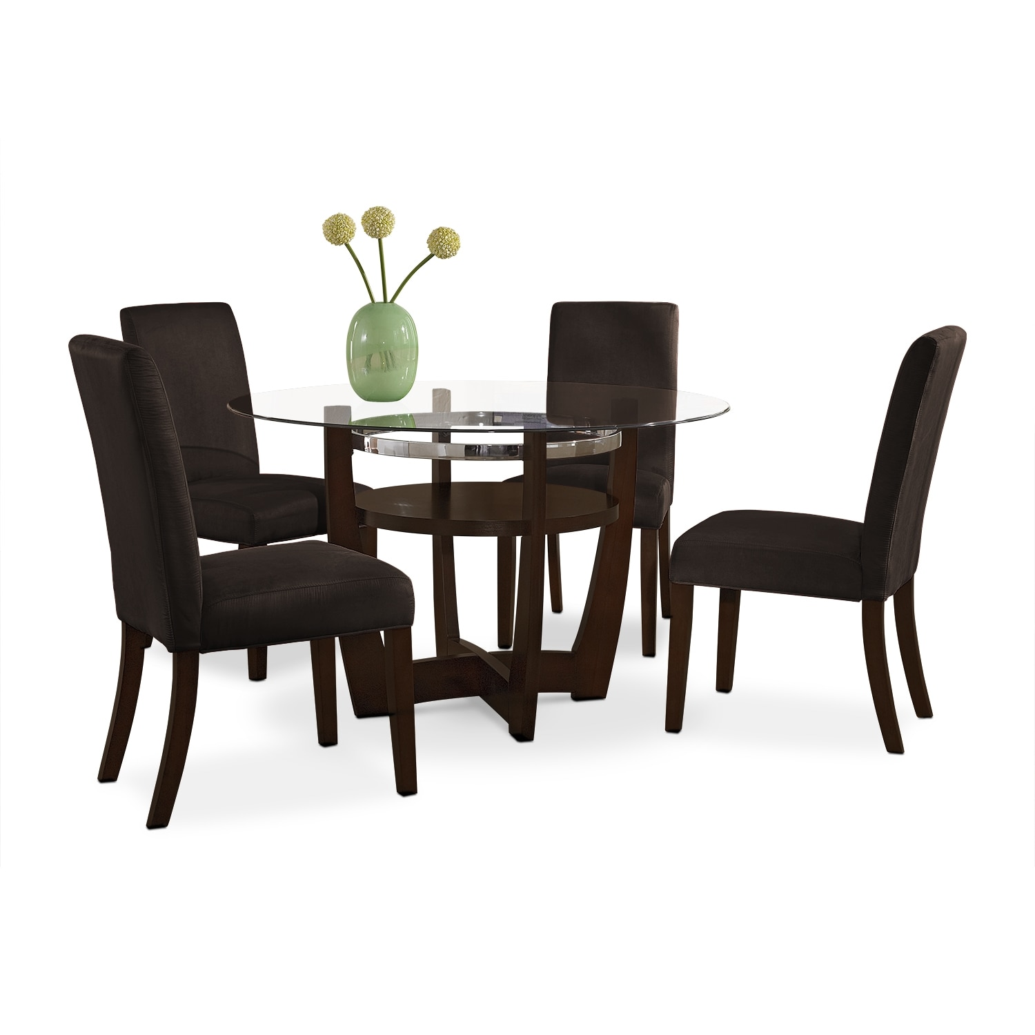 Dining Room Furniture - Alcove Dinette with Four Side Chairs - Chocolate