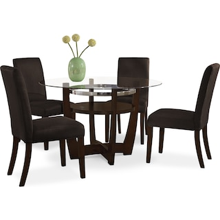 Alcove Dinette with 4 Side Chairs - Chocolate