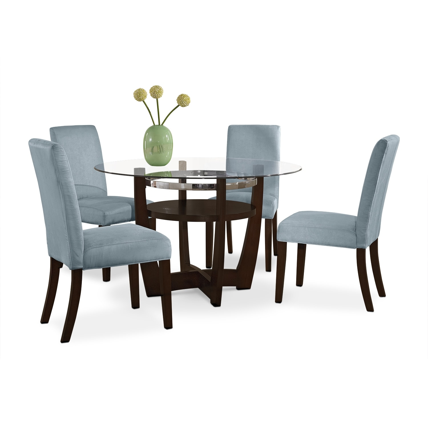 Alcove Dinette With 4 Side Chairs   Aqua