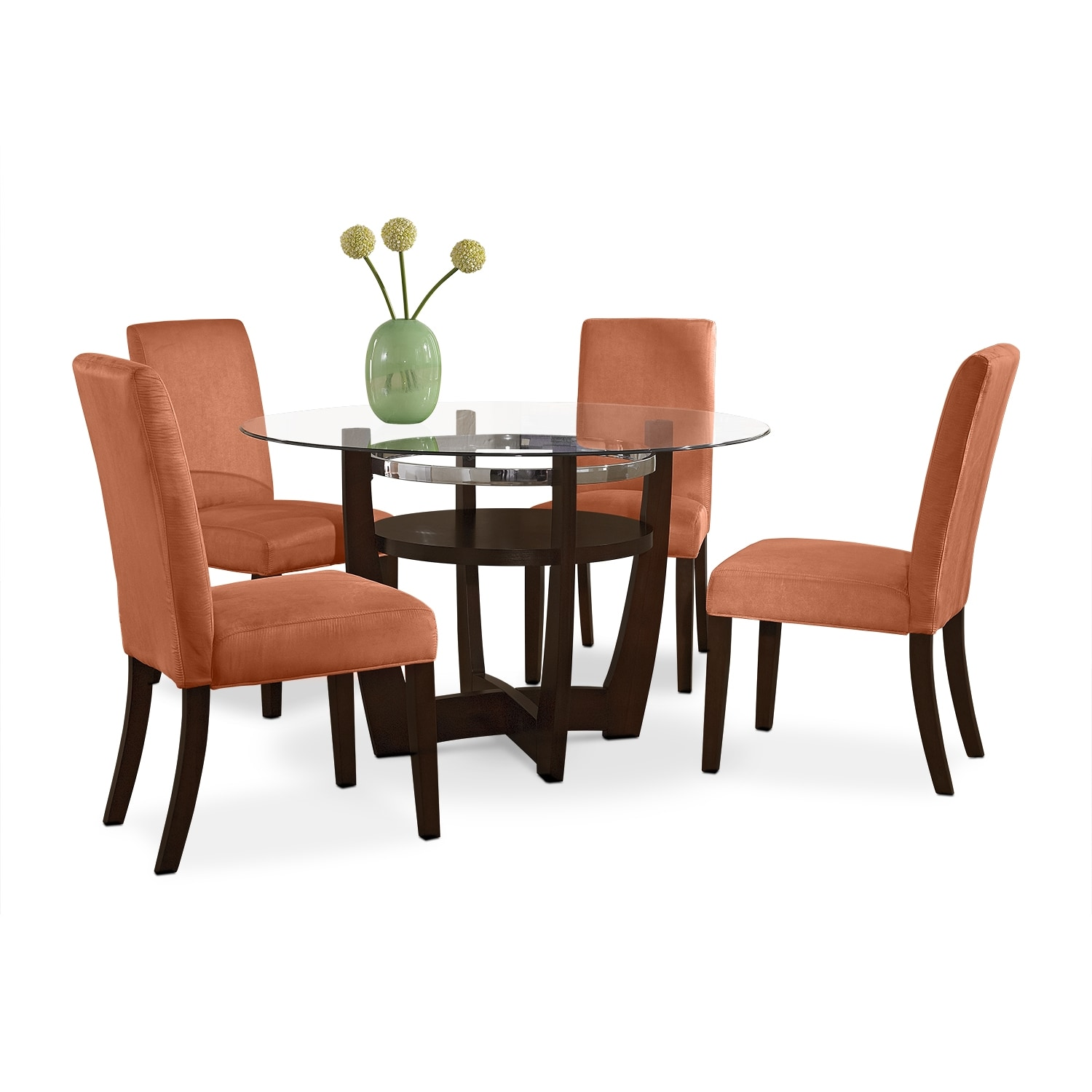 Dining Room Furniture - Alcove Dinette with Four Side Chairs - Orange
