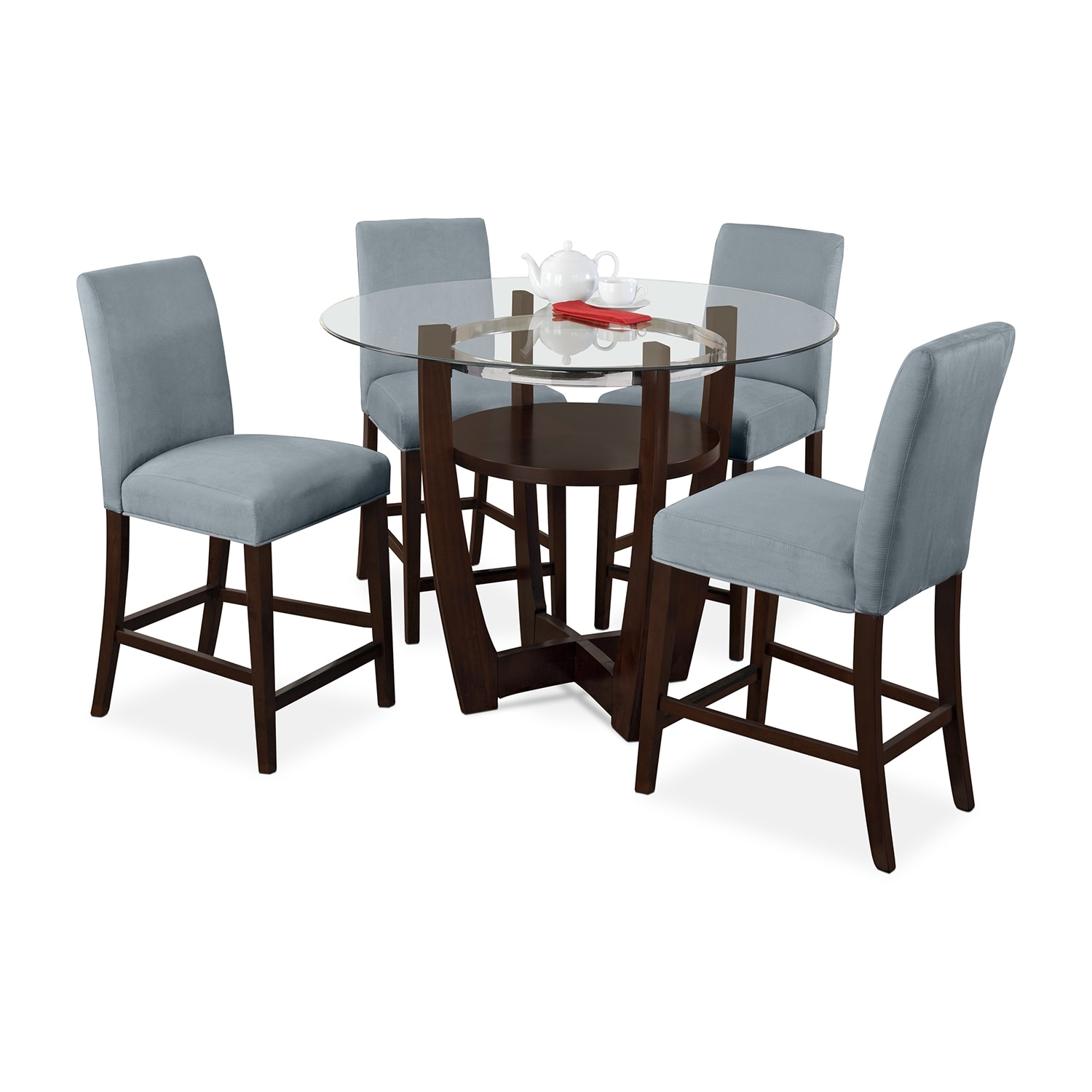 Dining Room Furniture - Alcove Counter-Height Dinette with Four Side Chairs - Aqua