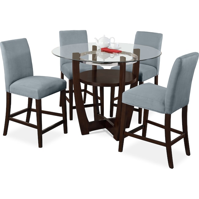 Alcove counter height dinette with 4 side chairs aqua for American furniture dinette sets