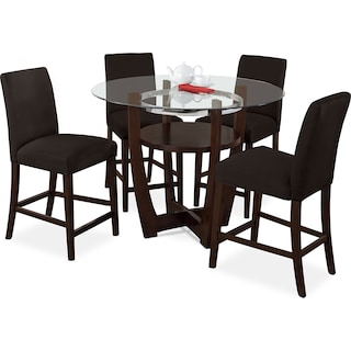 Alcove Counter-Height Dinette with 4 Side Chairs - Chocolate