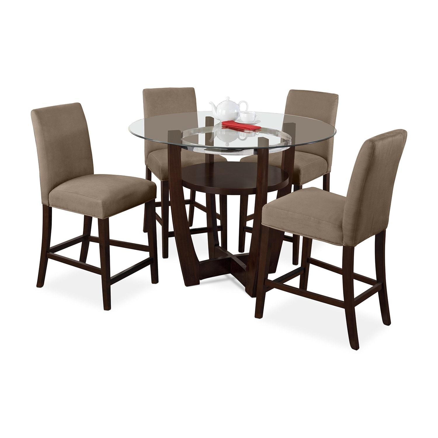 Dining Room Furniture - Alcove Counter-Height Dinette with Four Side Chairs - Beige
