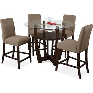 Alcove Counter-Height Dinette with 4 Counter-Height Stools - Beige
