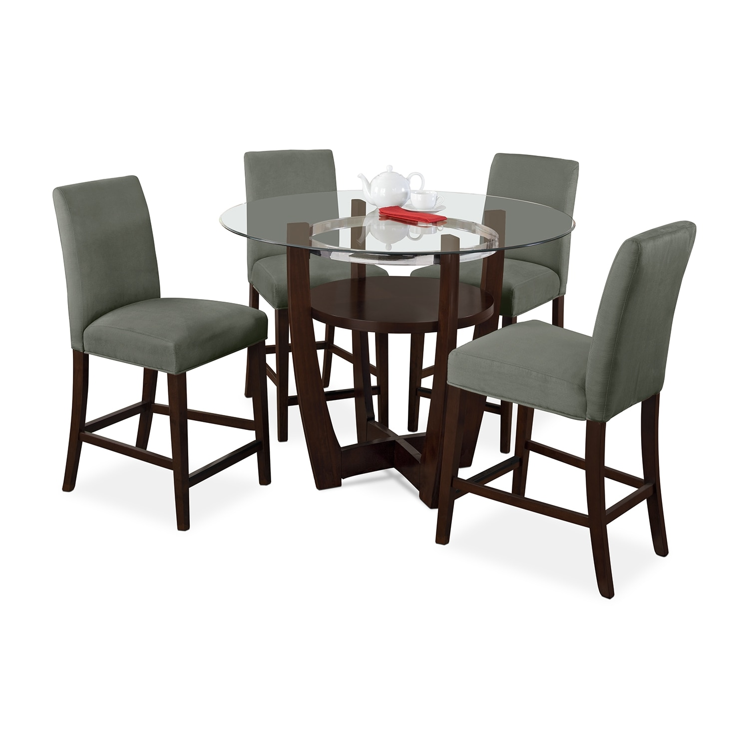 Dining Room Furniture - Alcove Counter-Height Dinette with Four Side Chairs - Sage