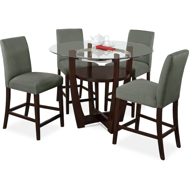 Dining Room Furniture - Alcove Counter-Height Dinette with 4 Side Chairs - Sage