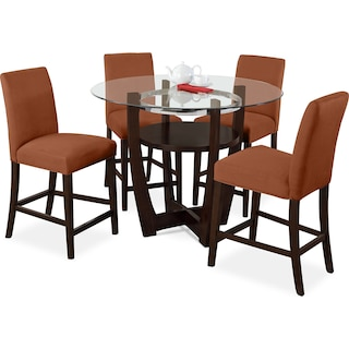 Alcove Counter-Height Dinette with 4 Side Chairs - Orange