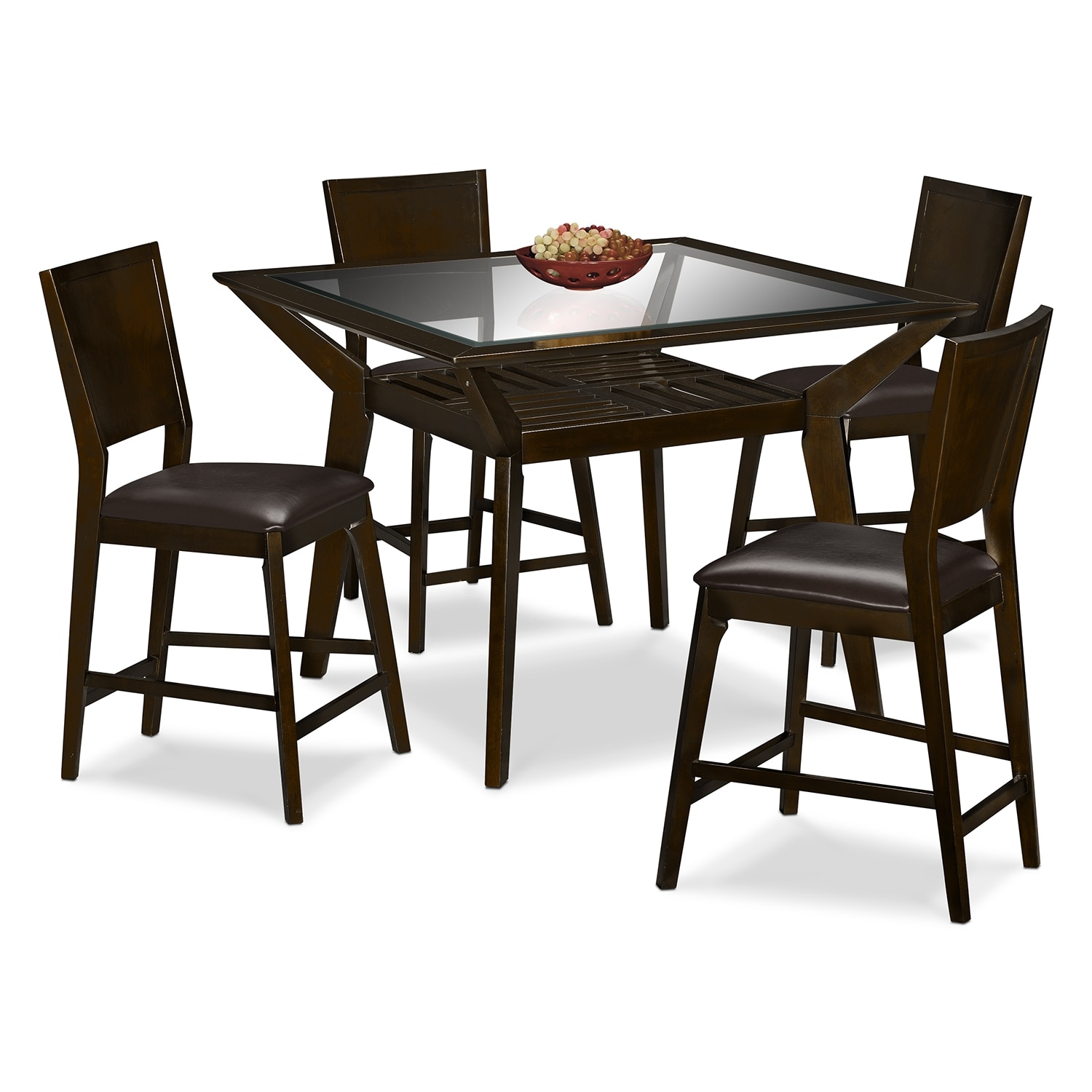 mystic counter height table and 4 chairs merlot and