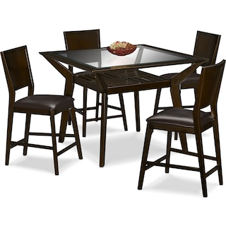 Mystic Counter-Height Table and 4 Chairs - Merlot and Chocolate