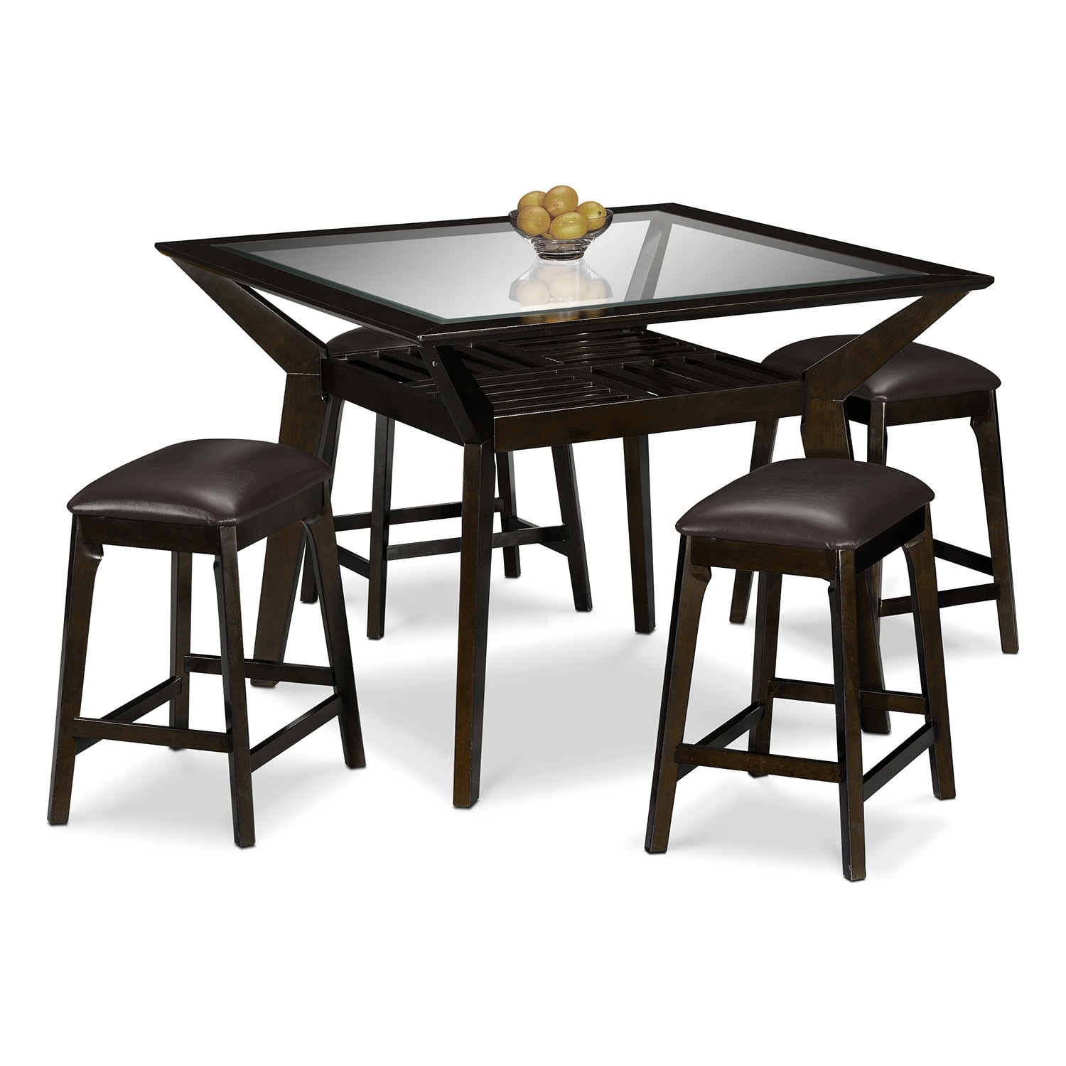 Mystic Counter-Height Table and 4 Backless Stools - Merlot and Chocolate