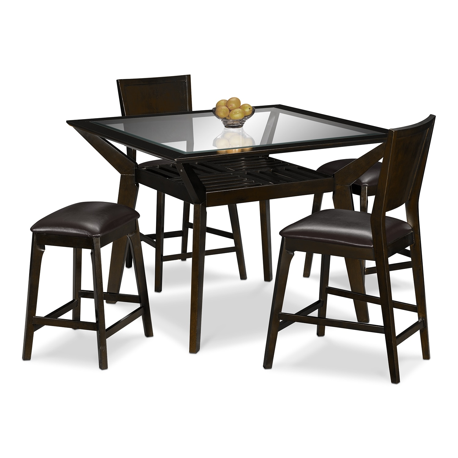 Mystic Counter Height Table 2 Chairs And 2 Backless Stools Merlot And Choc