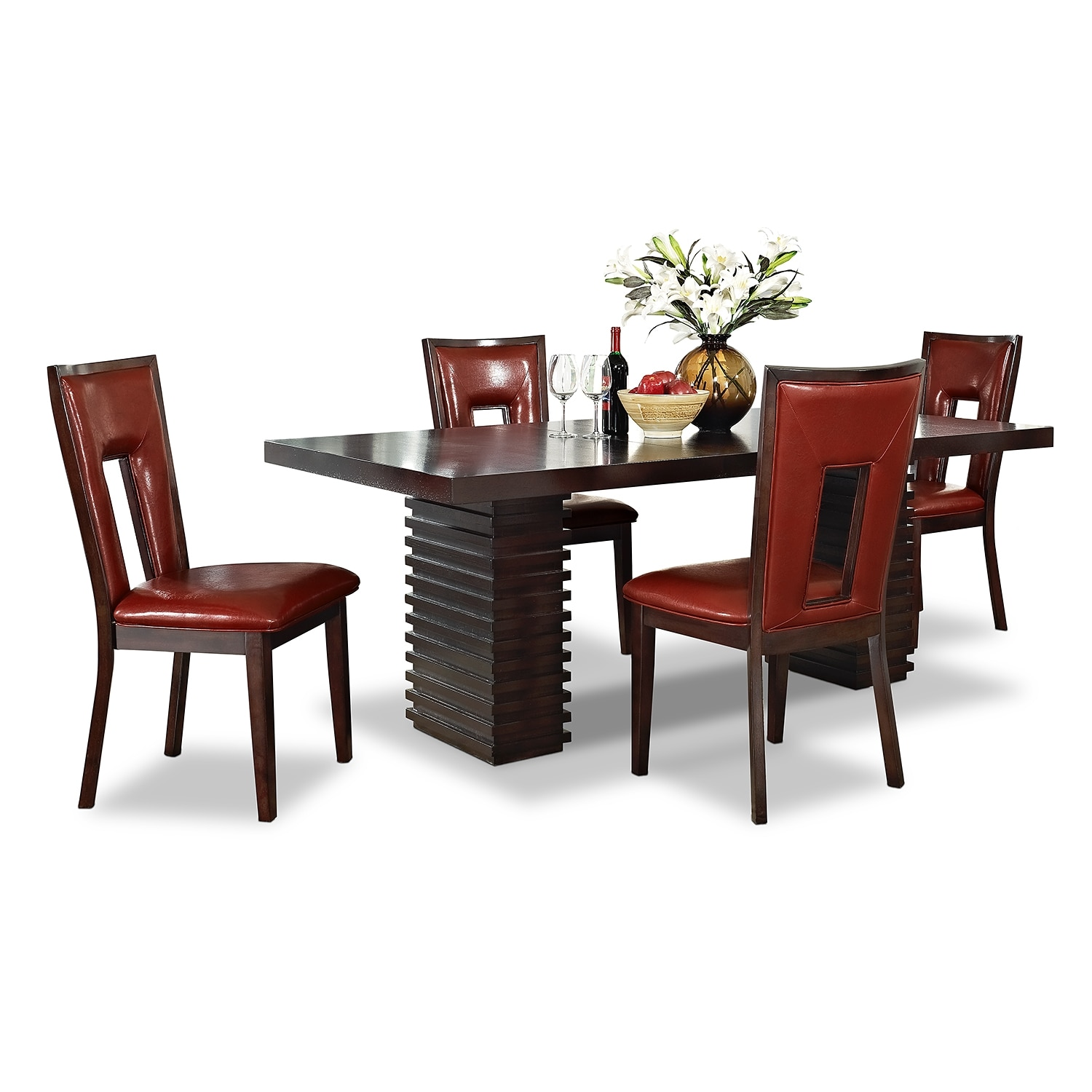 Dining Room Furniture - Paragon Table and 4 Madera Red Chairs
