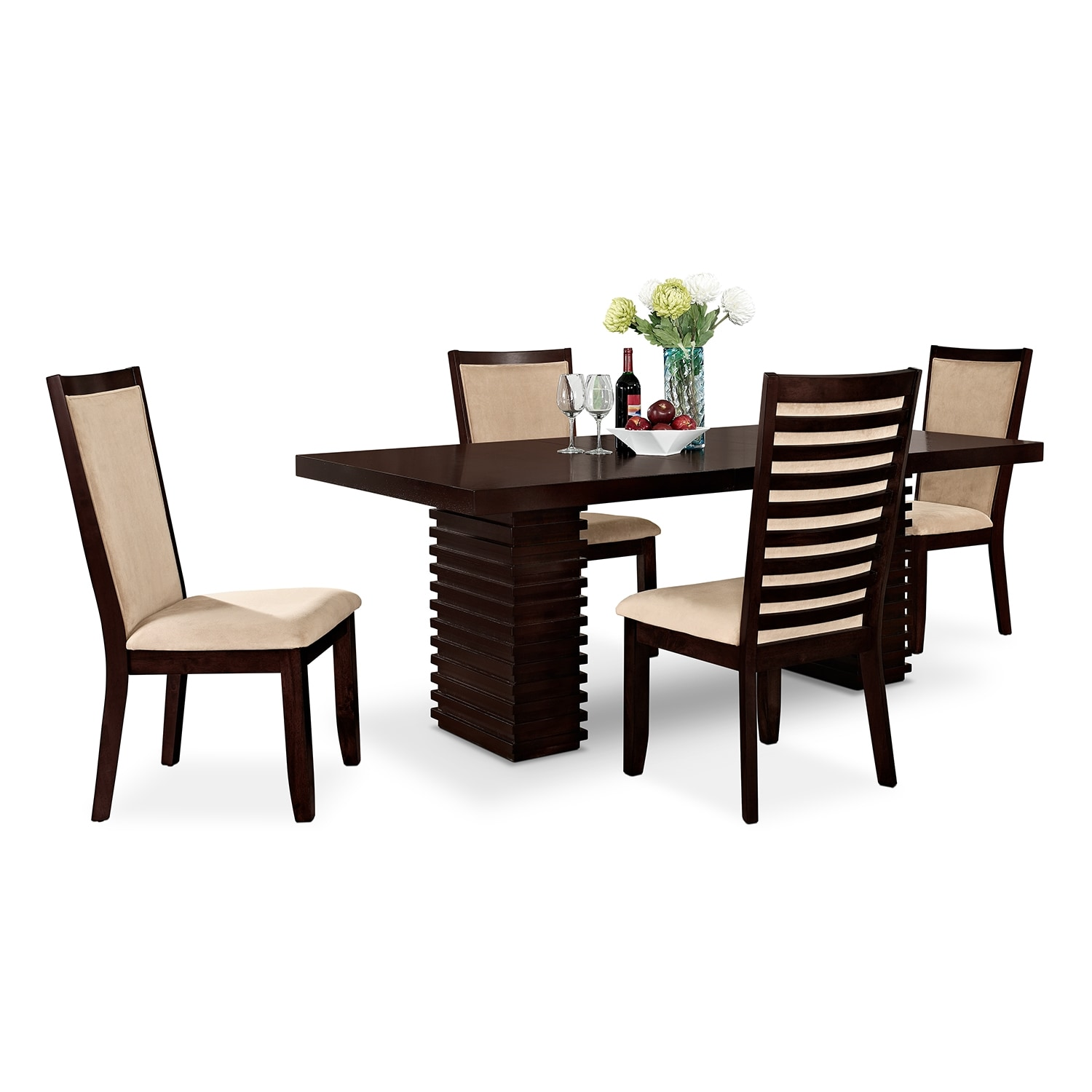 Dining Room Furniture - Paragon Table and 4 Chairs - Merlot and Camel
