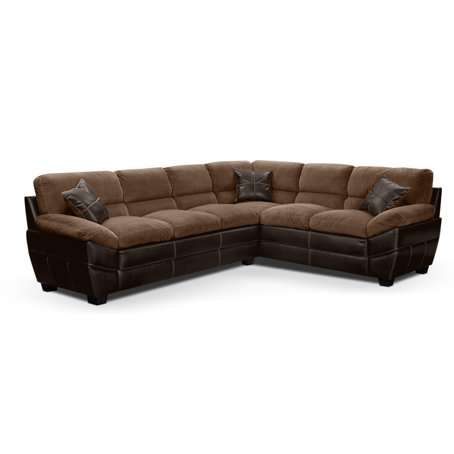 Living Room Furniture - Chandler 2-Piece Left-Facing Sectional - Beige and Brown