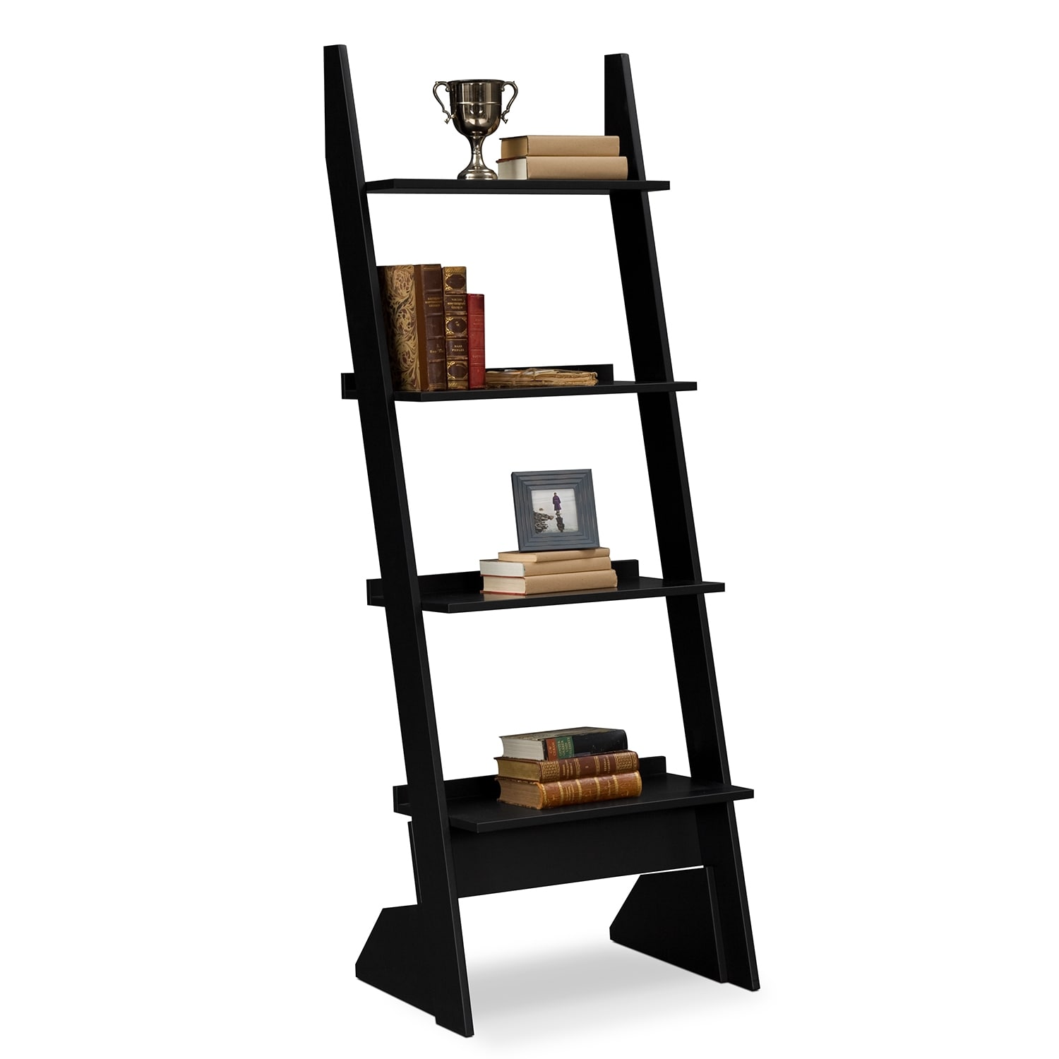 Superbe Accent And Occasional Furniture   Plantation Cove Leaning Bookshelf   Black