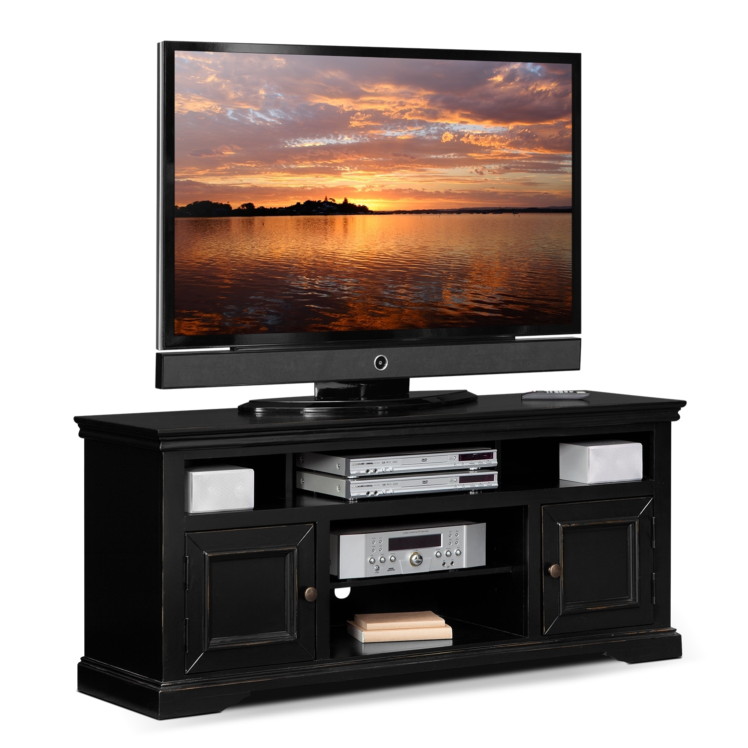 Jenson 60 tv stand black american signature furniture for Tv furniture
