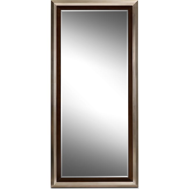 Accent and Occasional Furniture - Jensen Floor Mirror - Silver and Walnut