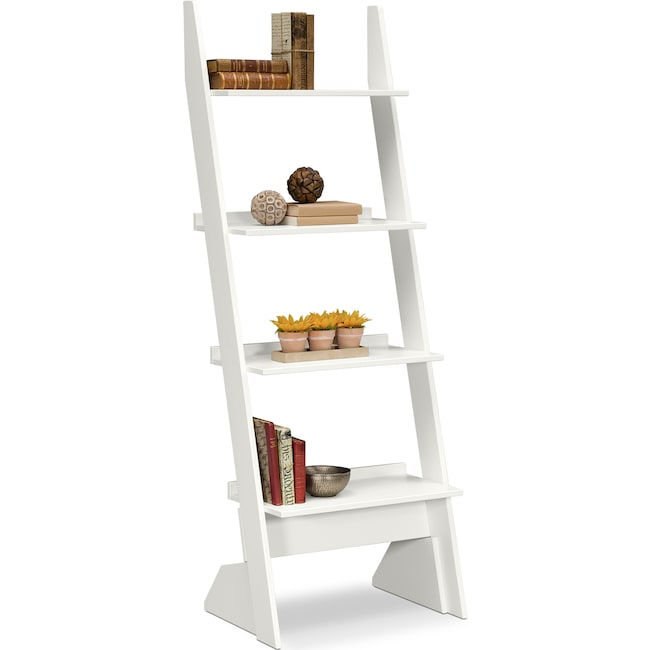 Accent and Occasional Furniture - Plantation Cove Leaning Bookshelf - White