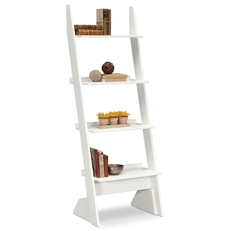 plantation cove leaning bookshelf white