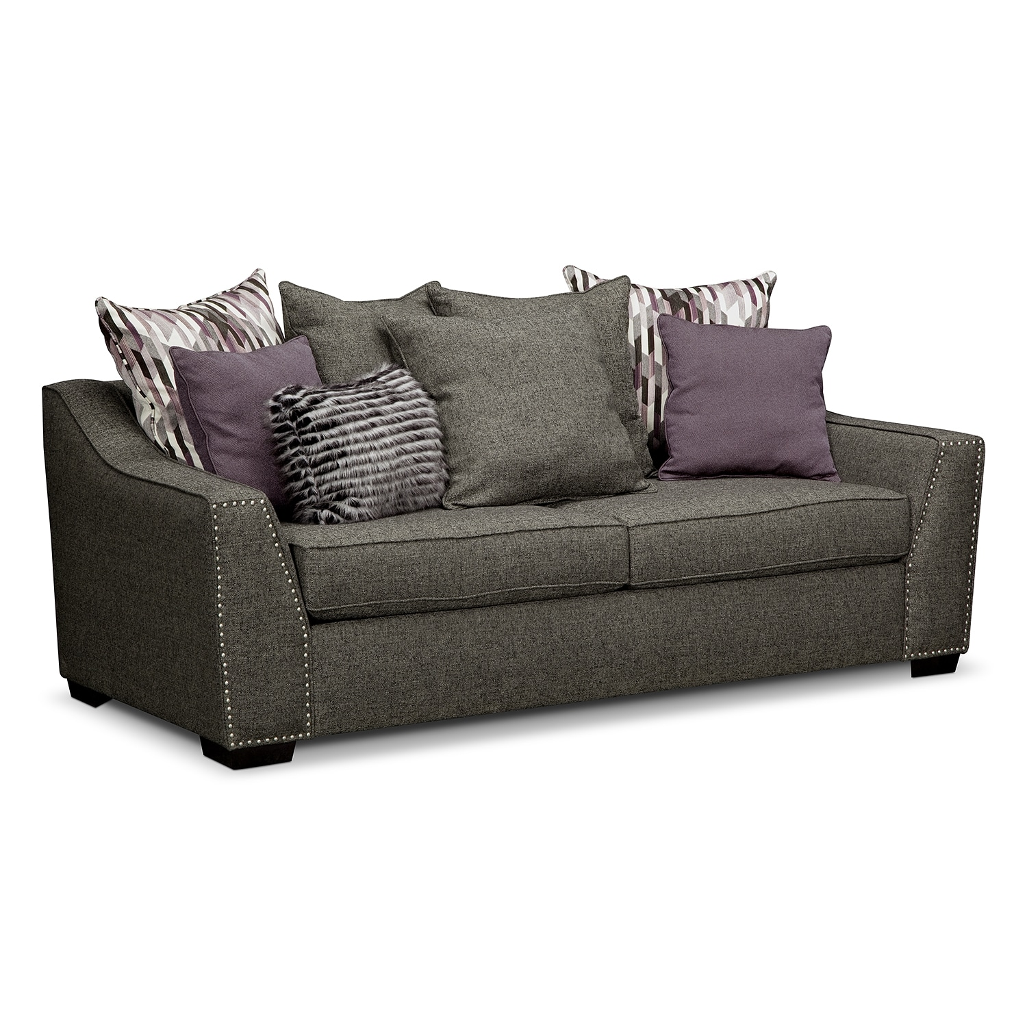 Living Room Furniture - Ritz Sofa - Gray