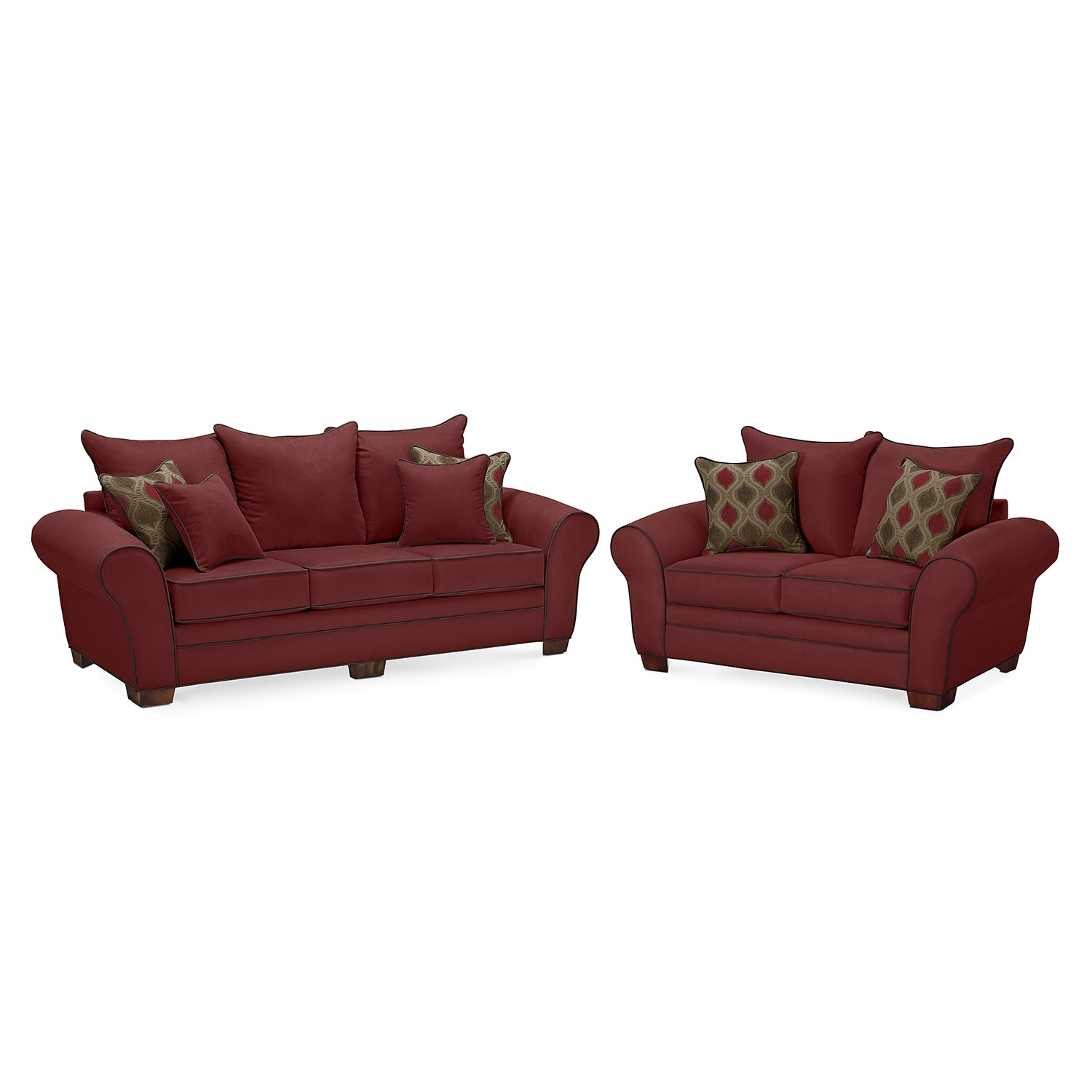 Rendezvous Sofa and Loveseat Set - Wine