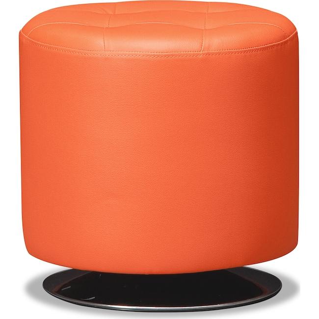 Accent and Occasional Furniture - Dominic Swivel Ottoman - Orange
