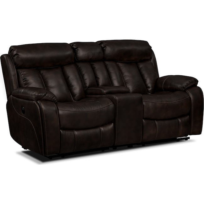 Living Room Furniture - Diablo Power Reclining Loveseat - Walnut