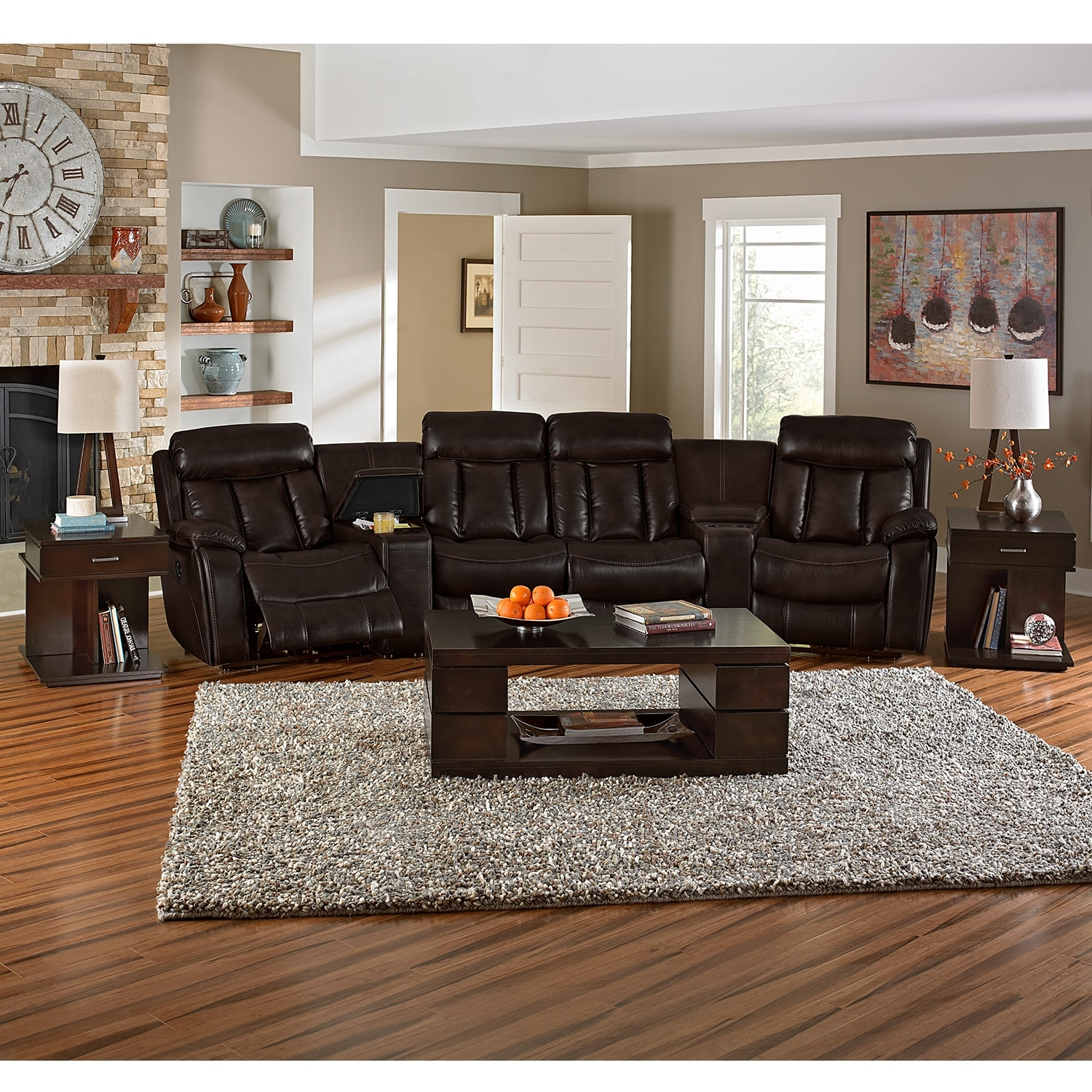 Walnut Living Room Furniture Diablo 6 Piece Power Reclining Sectional With 2 Armless Recliners