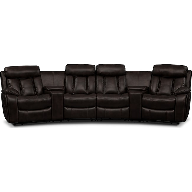 Living Room Furniture - Diablo 6-Piece Power Reclining Sectional with 2 Armless Recliners - Walnut