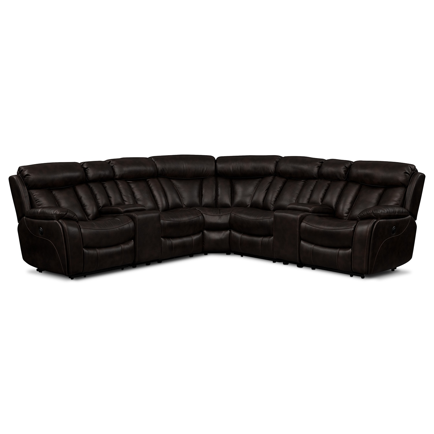 Diablo 7-Piece Power Reclining Sectional with Armless Recliner - Walnut