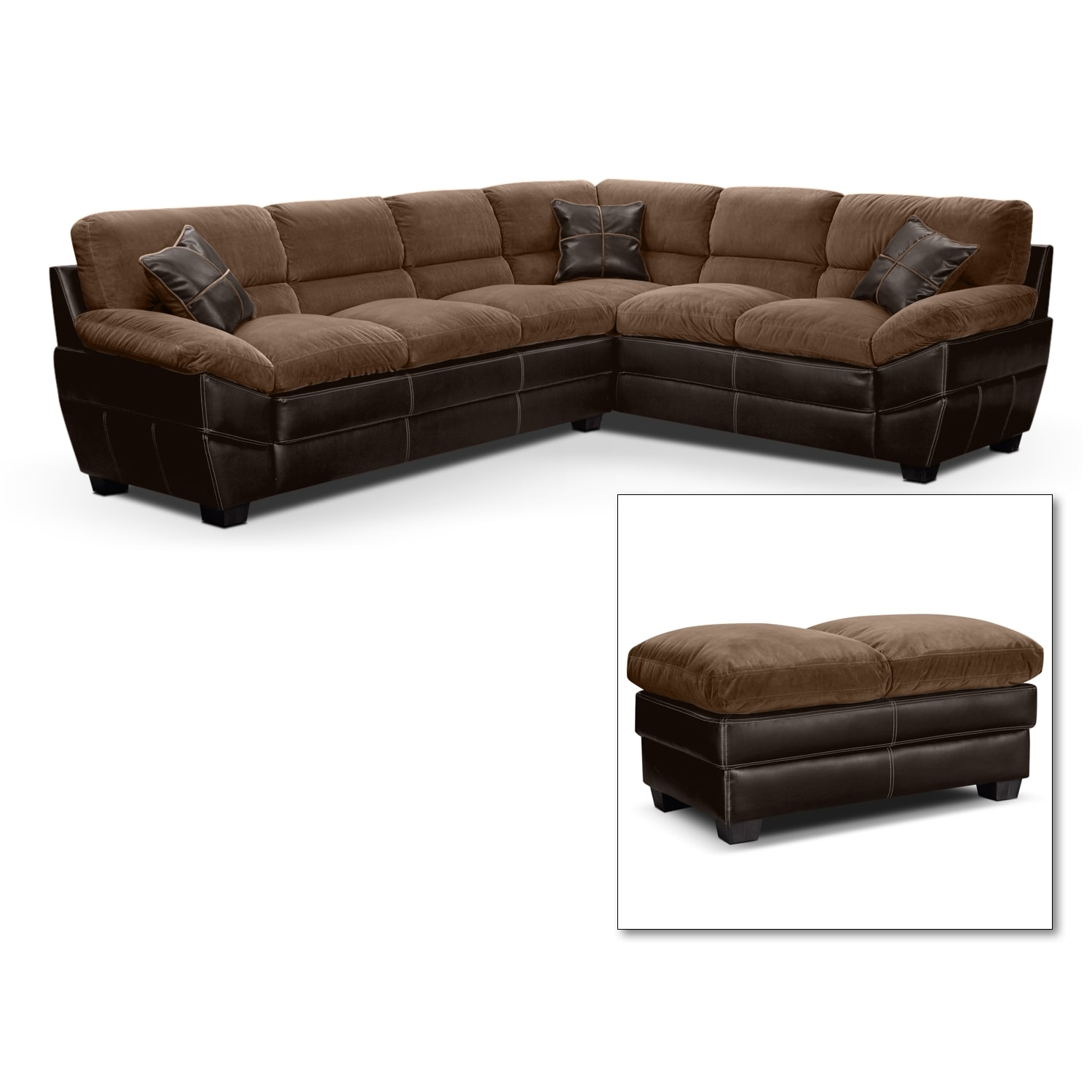 Chandler Beige II 2 Pc. Sectional and Cocktail Ottoman