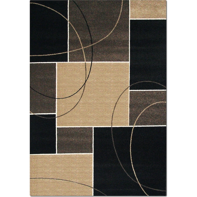 Rugs - Casa Dark Circles and Squares Area Rug - Chocolate and Beige