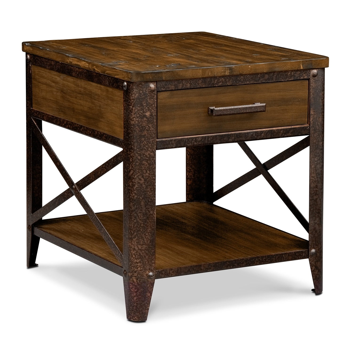 Shortline End Table Distressed Pine American Signature