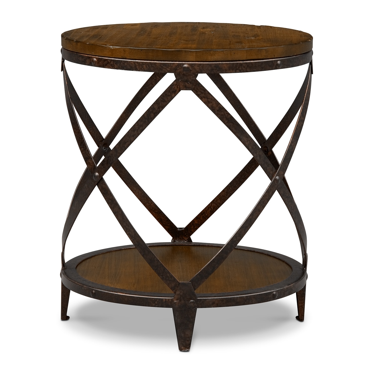 shortline round end table  distressed pine  american signature  - shortline round end table  distressed pine