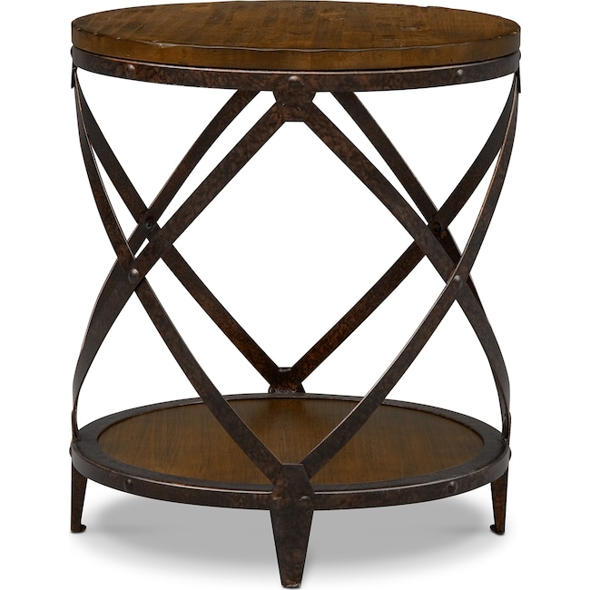 Accent and Occasional Furniture - Shortline Round End Table - Distressed Pine