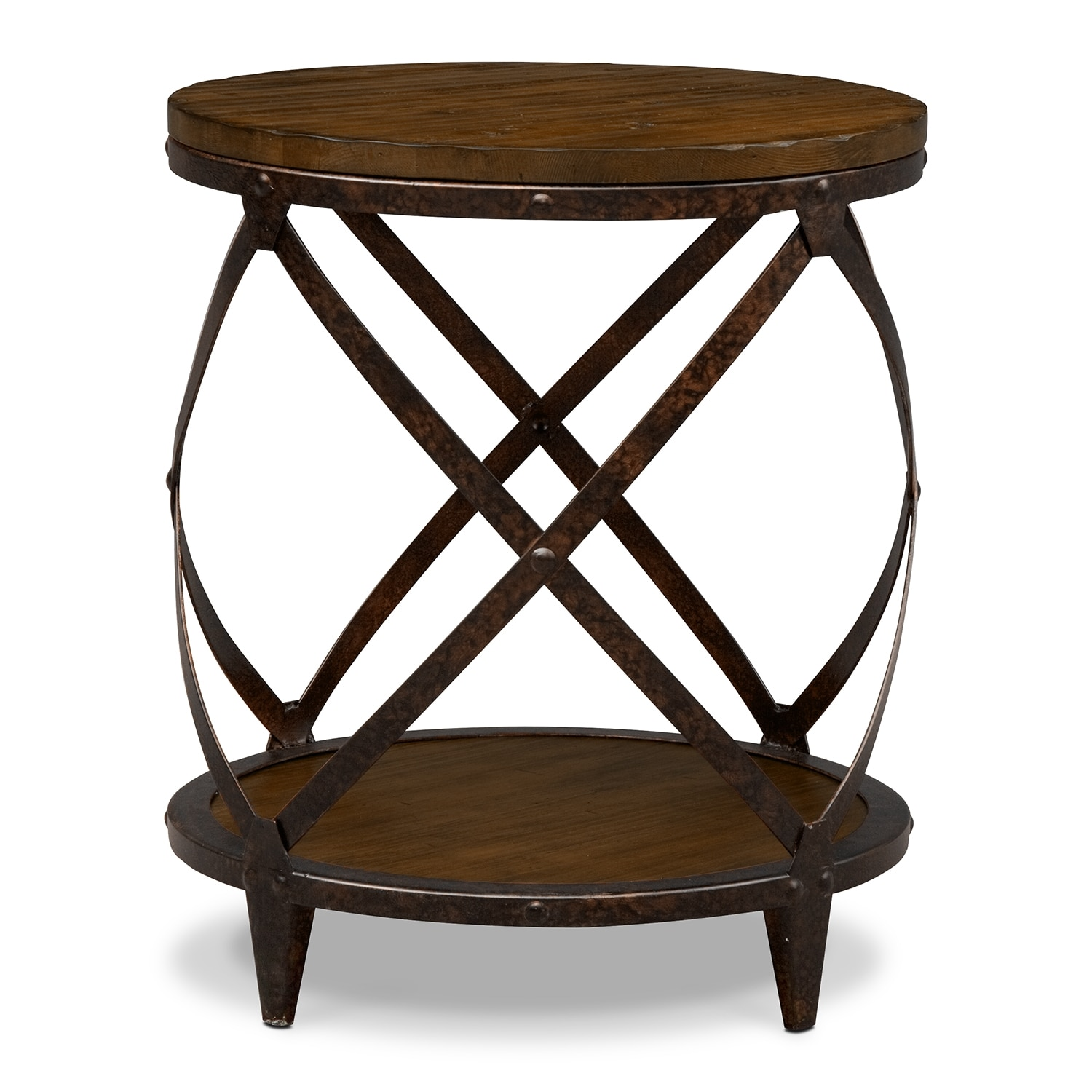 Shortline Round End Table Distressed Pine American Signature - Round end table with doors