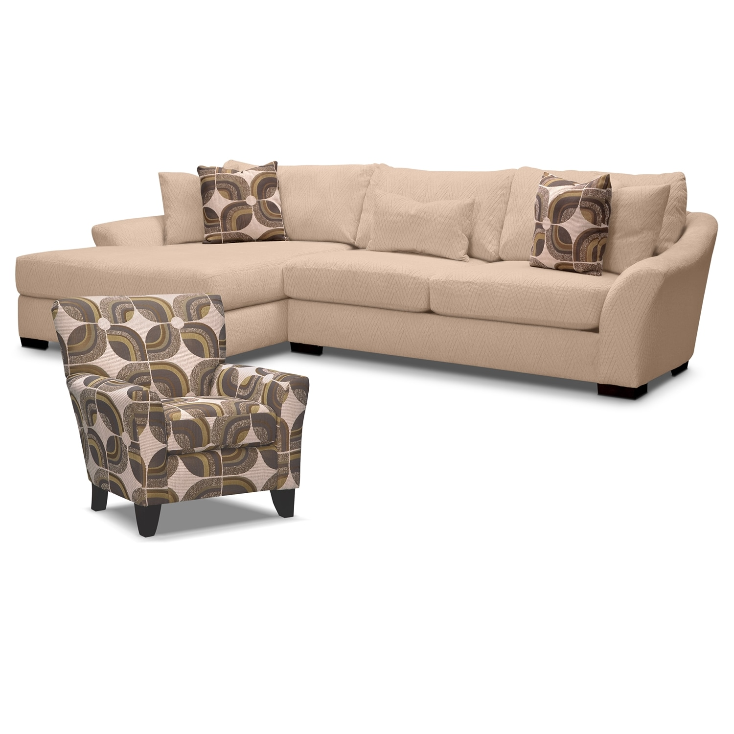 Living Room Furniture - Oasis II 2 Pc. Sectional and Accent Chair