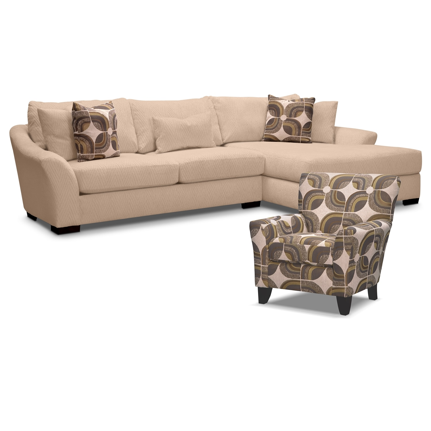 Living Room Furniture - Oasis II 2 Pc. Sectional (Reverse) and Accent Chair