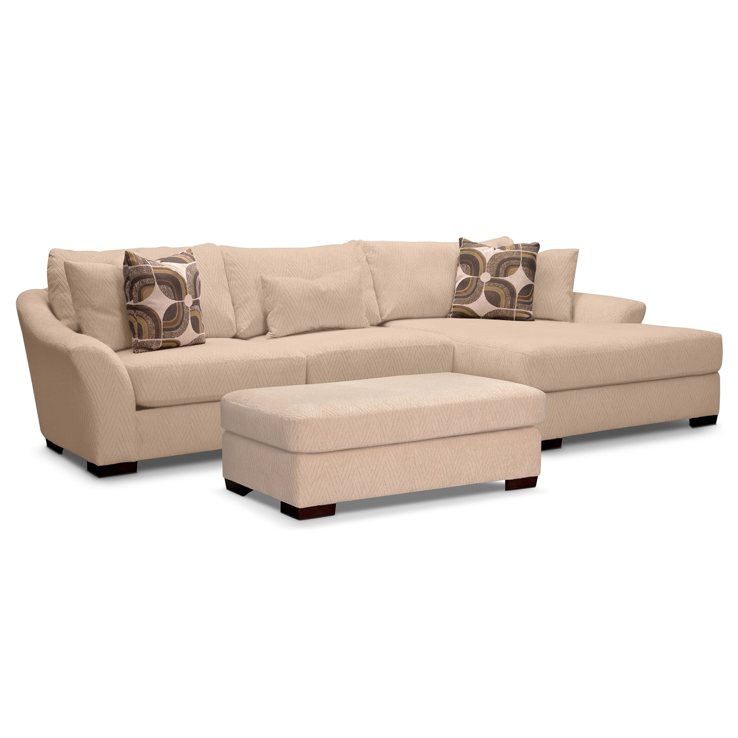 Living Room Furniture - Oasis II 2 Pc. Sectional (Reverse) and Ottoman