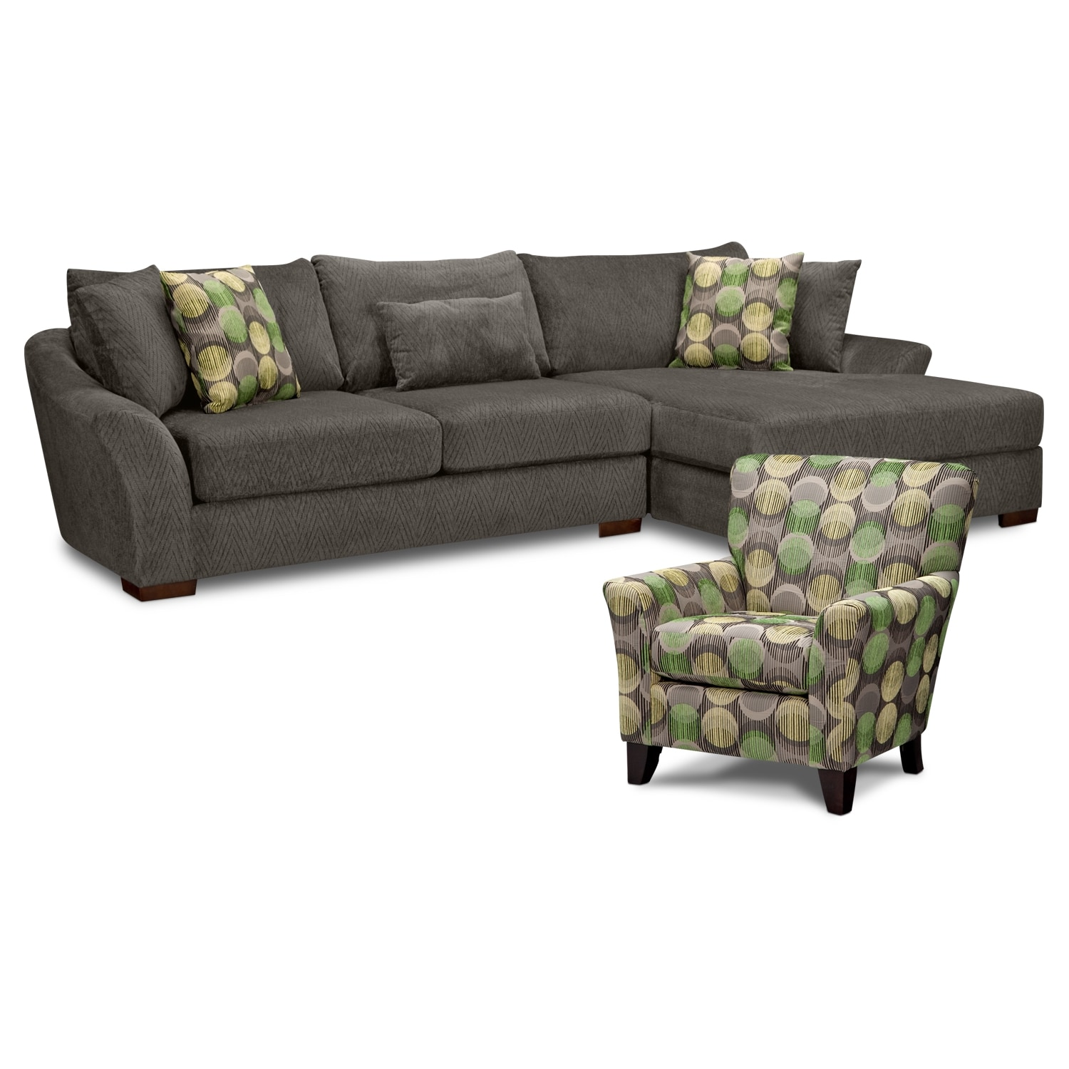 Living Room Furniture - Oasis 2 Pc. Sectional (Reverse) and Accent Chair