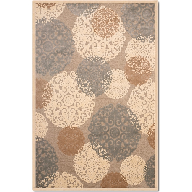Rugs - Napa Light Snowflakes 5' x 8' Area Rug - Ivory and Teal