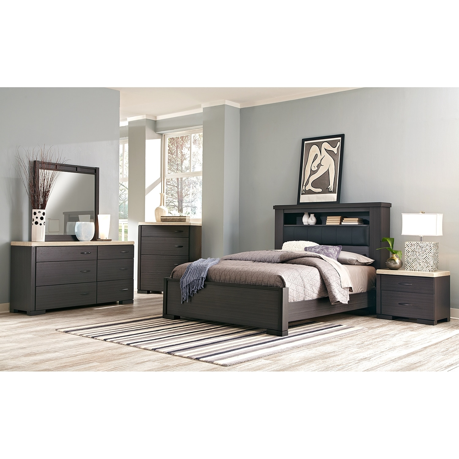 Bedroom Furniture   Camino 7 Piece Queen Bedroom Set   Charcoal And Ivory